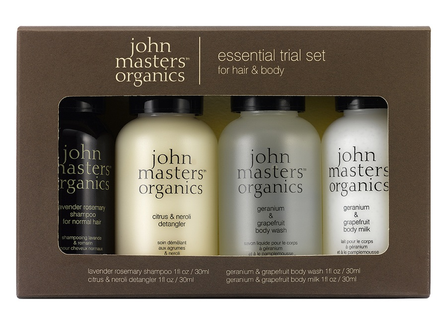 John Masters Organics Essential Travel Kit For Hair & Body (4 tuotetta)