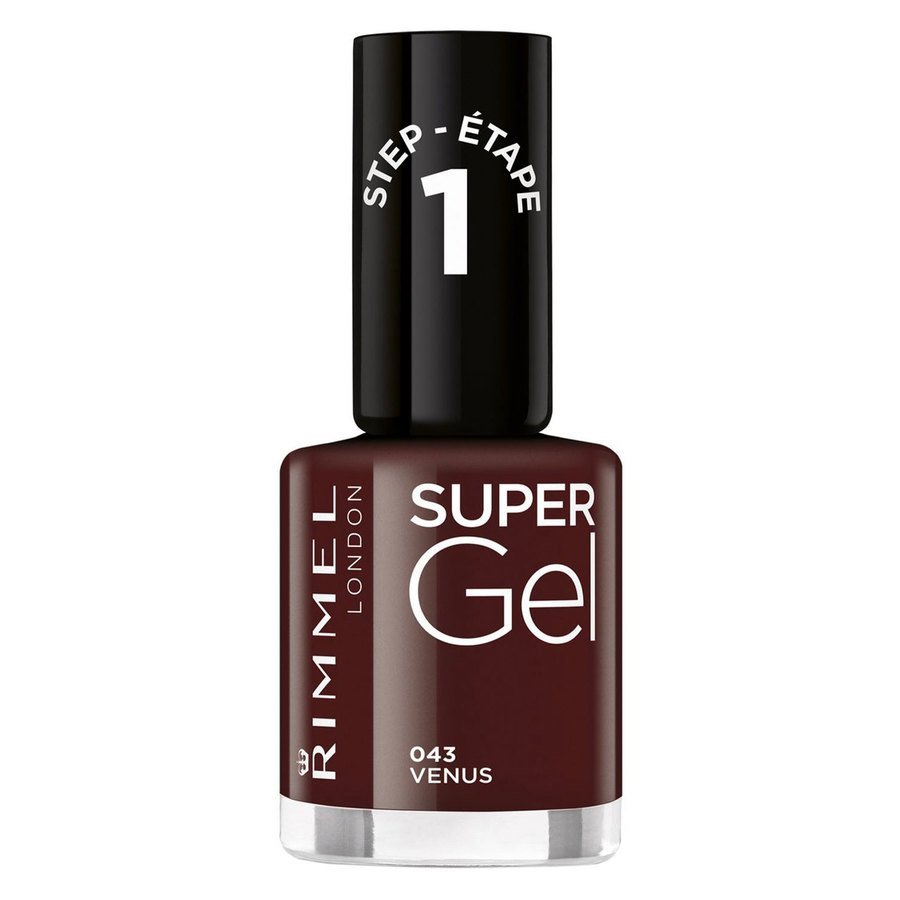 Rimmel London Super Gel Nail Polish 12 ml ─ #43 VenusDark Red