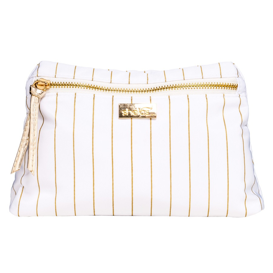 Shela's Striped Toiletry Bag Small White/Gold