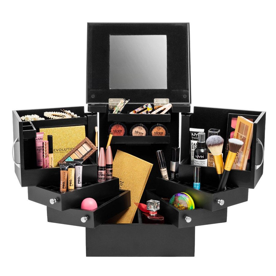 Shelas Deluxe Cosmetic Organizer Box With Mirror Black