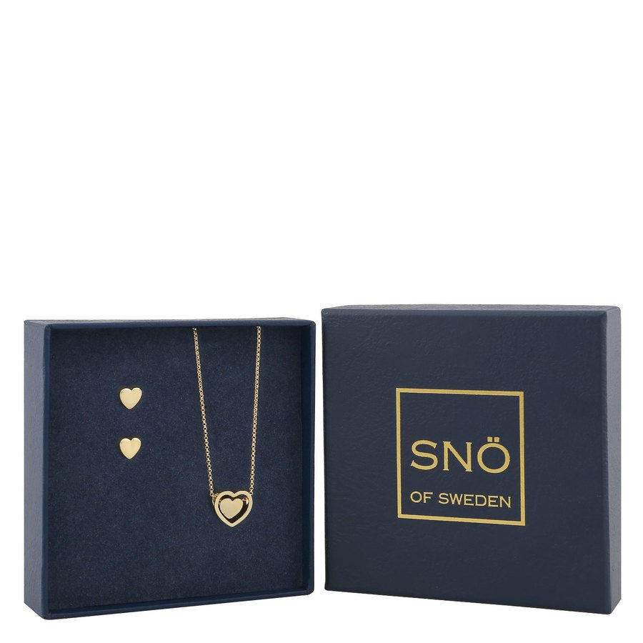 SNÖ of Sweden Belize Heart Pendant Set - Plain Gold