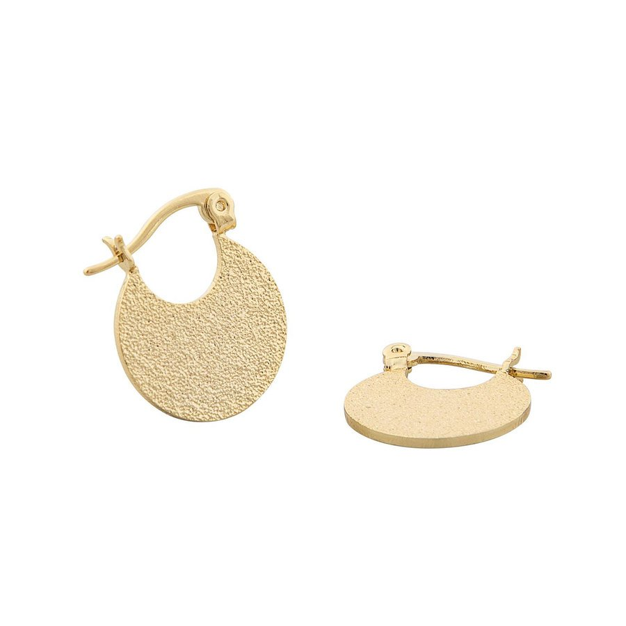 Snö of Sweden Lynx Small Round Earring - Plain Gold