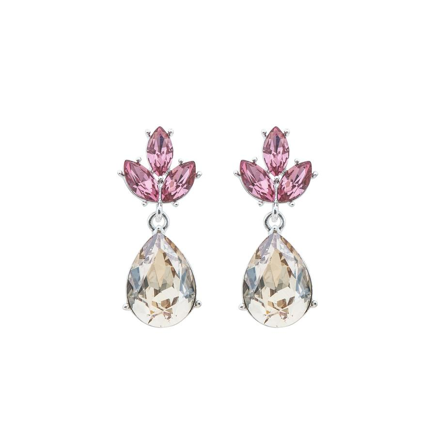 Snö Of Sweden Noemi Drop Earring - Silver/Pink Mix 2