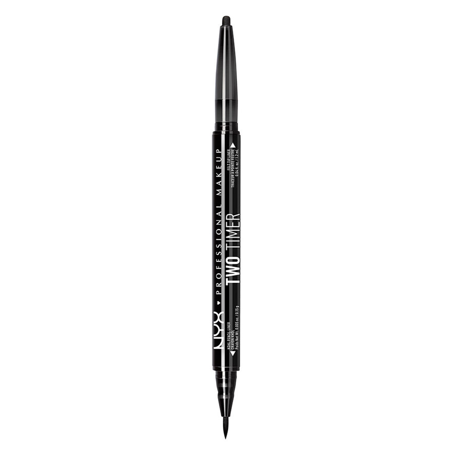 NYX Professional Makeup Two Timer Dual Ended Eyeliner Jet Black 1g