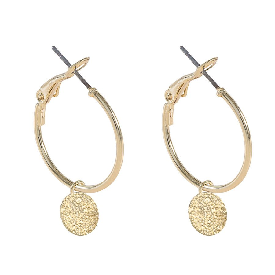 SNÖ of Sweden Penny Coin Round Earring – Plain Gold