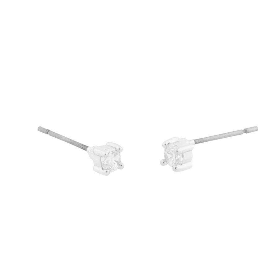 Snö of Sweden Lou Small Stone Earrings - Silver/Clear