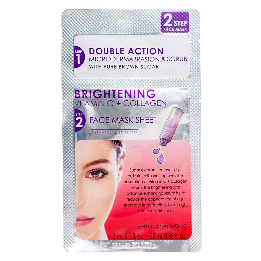 Skin Republic 2 Step Brightening Vitamin C + Collagen Face Mask