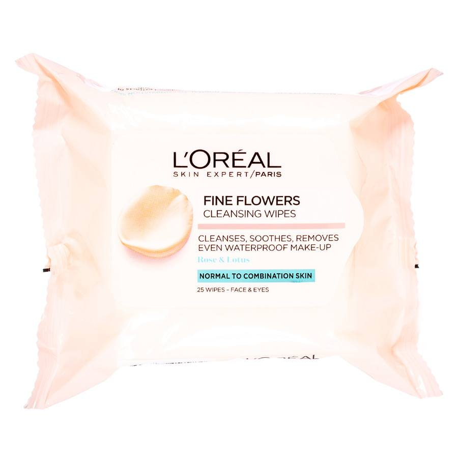 L'Oréal Paris Fine Flower Cleansing Wipes Normal To Combination 25 kpl