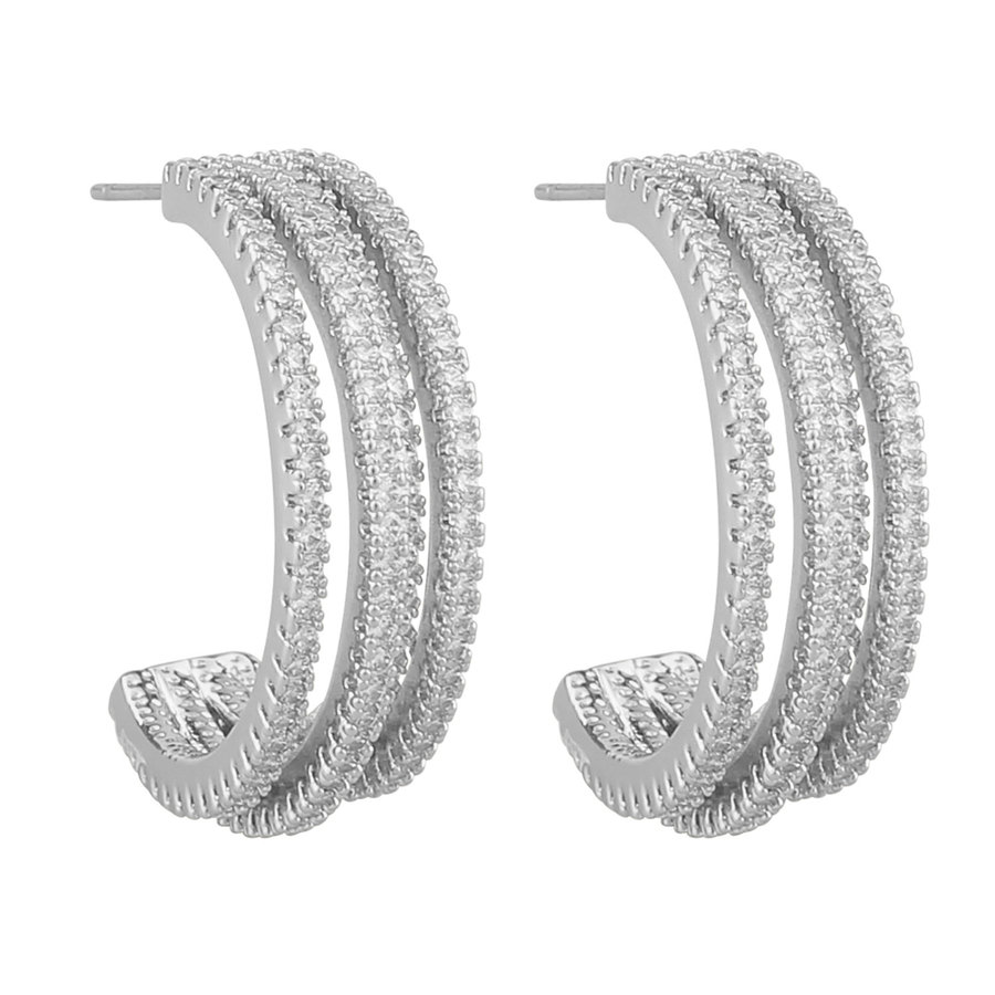 Snö Of Sweden Clarissa Wide Oval Earring - Silver/Clear